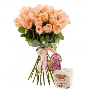 Букет из 25 высоких кремовых роз
