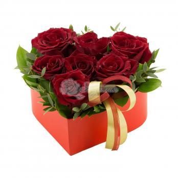 Сердце из 7 роз с декором