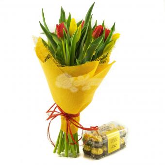 Букет из 11 тюльпанов с конфетами